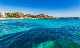 Spain Mallorca island, seaside view of Peguera beach. View of Paguera coastline with beautiful seascape of Platja Palmira, Mediterranean Sea royalty free stock photo