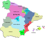 Spain map. Colour Spain map with names of regions on a white background Royalty Free Stock Image