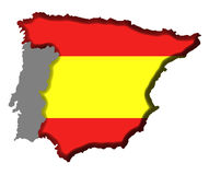 Spain Map. Spain Covered in Spanish Flag Royalty Free Stock Photo