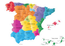 Spain map. Designed in illustration with the regions colored in bright colors and with the main cities. Neighbouring countries are in an additional format (. AI