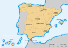 Spain map Autonomous communities. Map of Spain with islands. Autonomous communities. Escale 1:5500000. UTM projection Royalty Free Stock Photography