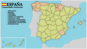 Spain map with autonomous communities and islands stock video footage