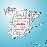 Spain. Map on blue background Royalty Free Stock Image