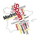 Spain map and cities. Spain map and words cloud with larger cities Royalty Free Stock Photo