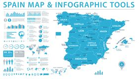 Spain Map - Info Graphic Vector Illustration Stock Image