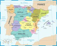 Spain Map - Vector Illustration Royalty Free Stock Photos