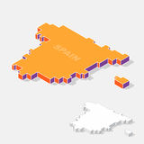 Spain map element with 3D isometric shape isolated on background Stock Image