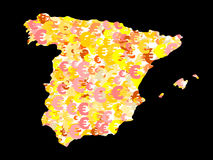 Spain map with euros Royalty Free Stock Images