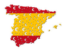 Spain map flag euro grunge Stock Photos