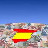 Spain map flag on euros Stock Photos