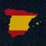 Spain map flag on hex code illustration. Retro 8 bit pixellated Spain map flag on hex code illustration Stock Photo