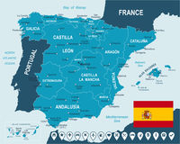 Spain - map, flag and navigation labels - illustration. Spain map and flag - highly detailed vector illustration Royalty Free Stock Image