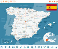 Spain - map, flag, navigation labels, roads - illustration. Spain map and flag - highly detailed vector illustration Royalty Free Stock Photos