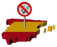 Spain map flag with no smoking sign Royalty Free Stock Photo