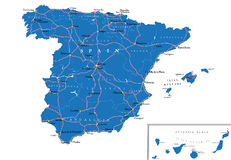 Spain map. Highly detailed vector map of Spain  with administrative regions, main cities and roads Royalty Free Stock Photography