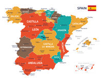 Spain map - illustration Stock Photo