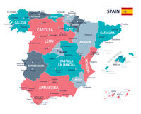 Spain map - illustration Royalty Free Stock Images