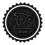 Spain Map Label with Retro Vintage Styled Design. Hipster Grungy Spain Map Insignia Vector Illustration. Country round sticker Royalty Free Stock Photos