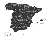 Spain Map labelled black. Illustration Royalty Free Stock Image