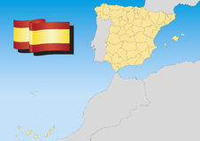 Spain Map Lambert Stock Photo