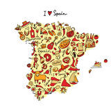 Spain map made from design elements. Sketch for your design