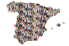 Spain map multicultural group of people integration immigration. Diversity isolated stock image