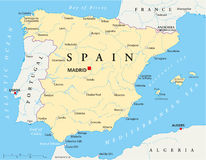 Spain Map. Map of Spain with national borders, most important cities, rivers and lakes Royalty Free Stock Photography