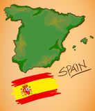 Spain Map and National Flag Vector Royalty Free Stock Images