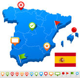 Spain map and navigation icons - Illustration Stock Images