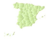 Spain map with provinces  Royalty Free Stock Photo
