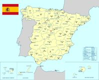 Spain map - cdr format. Spain map with provinces main cities islands and flag Stock Images