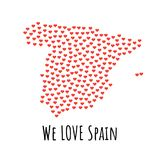 Spain Map with red hearts - symbol of love. abstract background. Spain Map with red hearts- symbol of love. abstract background with text We Love Spain. vector Royalty Free Stock Photography