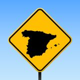 Spain map on road sign. Square poster with Spain country map on yellow rhomb road sign. Vector illustration stock illustration