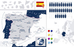 Spain Map and it's states Royalty Free Stock Photos