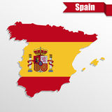 Spain map with Spain flag inside and ribbon Royalty Free Stock Photos