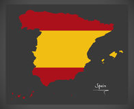 Spain map with Spanish national flag illustration Stock Photo
