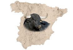 Spain map. A textured map of spain with a brave spanish bull Royalty Free Stock Image