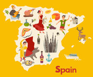 Spain map vector. Illustrated map for children. Cartoon atlas of Spain with flamenco Stock Images