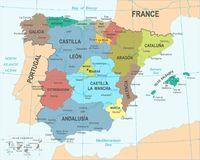 Spain Map - Vector Illustration Stock Photo