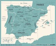 Spain Map - Vintage Vector Illustration Royalty Free Stock Photography