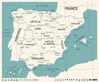 Spain Map - Vintage Vector Illustration Stock Photography