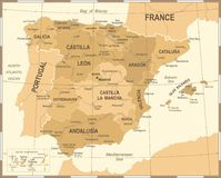 Spain Map - Vintage Vector Illustration Royalty Free Stock Images