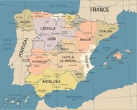 Spain Map - Vintage Vector Illustration Royalty Free Stock Image