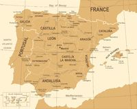 Spain Map - Vintage Vector Illustration Stock Photos