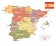 Spain map - Vuntage Royalty Free Stock Image