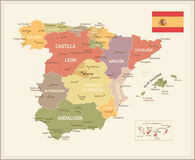 Spain map - Vuntage Royalty Free Stock Images