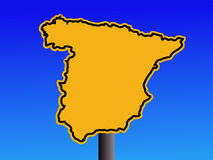 Spain map warning sign Stock Images