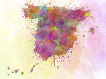 Spain map watercolor style splash Stock Photos