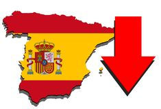 Spain map on white background and Red arrow down Stock Photo