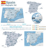 Spain maps with markers Stock Image